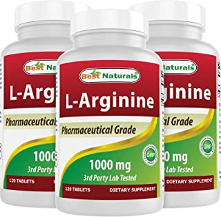 3 Pack - Best Naturals L-Arginine 1000 mg 120 Tablets - Pharmaceutical Grade L Arginine Supplement Promotes Nitric Oxide S...