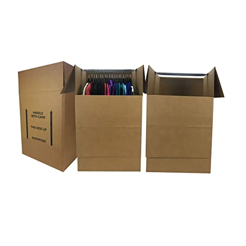 Wardrobe Moving Boxes (Bundle of 3) Larger More Cubic Feet 24x24x40