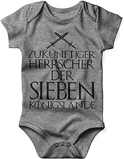 Mikalino Babybody mit Spruch für Jungen Mädchen Unisex kurzarm Zukünftiger Herrscher der sieben Königslande | handbedruckt in Deutschland | Handmade with love