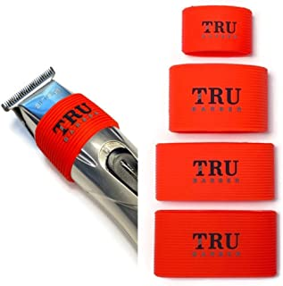 TRU BARBER Clipper Grip Bands 4 PCS ، دسته کلیپر برای آرایشگران ، آستین کلیپر برای ابزار سلمانی ، ضد لغزش ، مقاوم در برابر حرارت (قرمز)