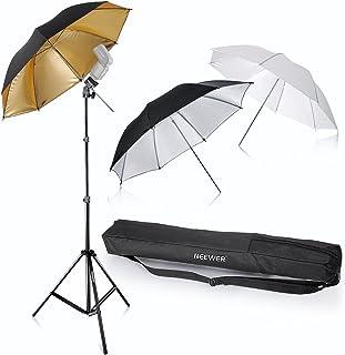 "Neewer® Flash Mount Tres paraguas Kit 33""/84cm Blanco Suave/Plateado Reflectante/Dorado Paraguas Reflectante para Canon 430EX II, 580EX II, Nikon SB600 SB800, Yongnuo YN560, YN565, Neewer TT560, TT680"