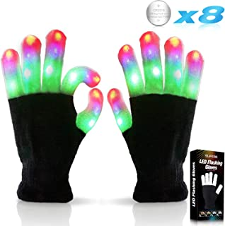 Kids Led Flashing Finger Lights Gloves 3 Colors 6 Modes for 3 4 5 6 7 8 9 10 11 12 13 Years Old Boys Girls Autistic Children top Toy Gifts Idea Best Cool Funny Present Halloween Christmas Party Favor