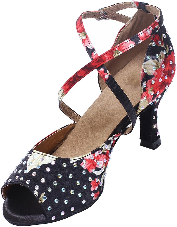 MsMushroom Woman's Flower Print Satin with Beads Latin Dance Wedding shoes 3  Heel