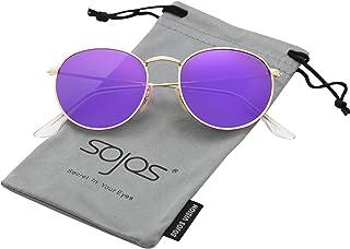 SOJOS Ronde Vintage Rétro Miroir Anti-UV Lunettes de Soleil Unisexe Polarisées SJ1014