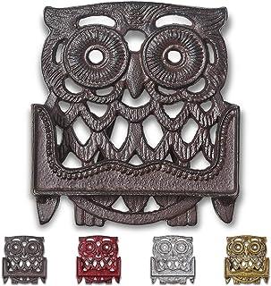 Immokaz Vintage Cast Iron Business Card Holder for Desk Owl Figurine Design Durable Rustic Frame Multipurpose Display Stan...