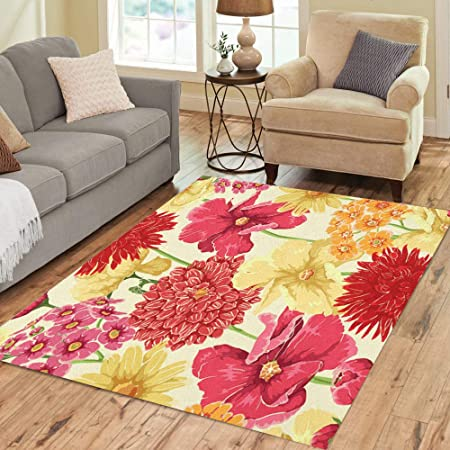 Pinbeam Area Rug Yellow Flower Floral In Watercolor Red Pattern Leaf Home Decor Floor Rug 3 X 5 Carpet Kitchen Dining