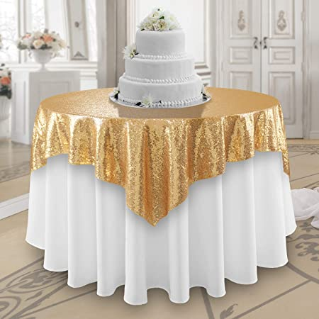 Ribbon /& Sequin 4083 Table Overlay 50 X 50 Inches Square Ivory