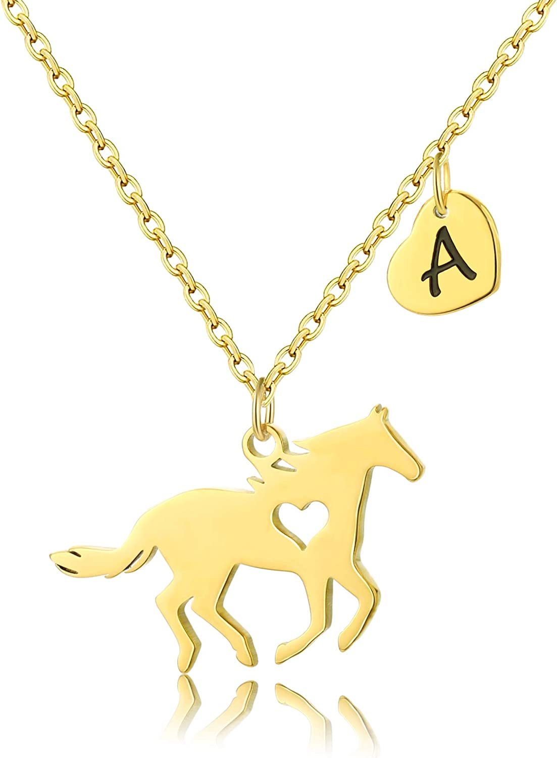 SHIWE Stainless SALENEW very List price popular Steel Gold Horse Necklace Women H Initial 26 for