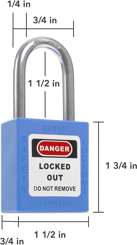 Blue Keyed Alike Safety Padlocks OSHA Compliant Loto Locks 10 Pack TRADESAFE Lockout Tagout Lock Sets Premium Grade 2 Keys Per Lock for Lock Out Tag Out Stations
