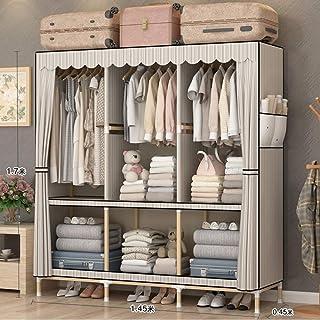 Armoire en toile armoires en tissu organisateur de rangement, renfort en bois massif, avec des tiges de suspension, utilis...