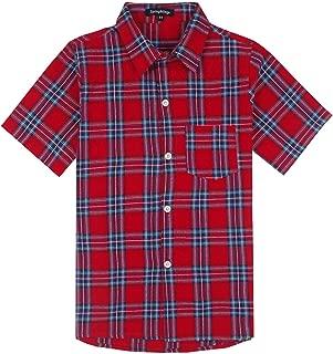 Spring&Gege Boys' Casual Plaid Short Sleeve Button Down Sport Shirts