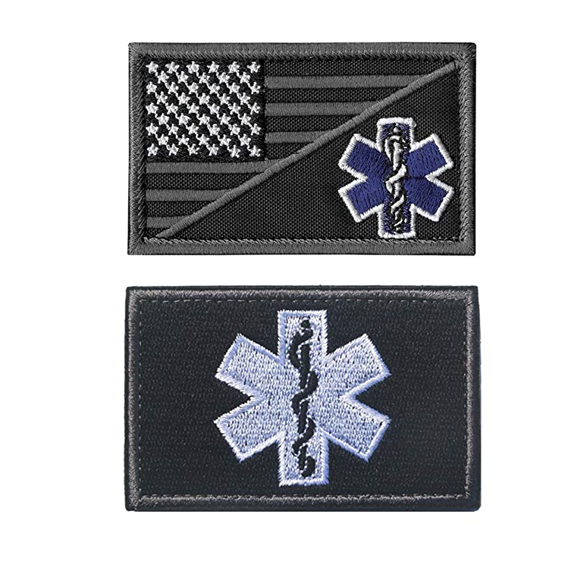 SOUTHYU 2 Pieces USA American Flag Star of Life Medical EMS EMT Paramedic Tactical Morale Patches Military Emblem Embroidered Badge Applique Fastener Hook & Loop Patch