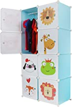 Kurtzy 8 Door Plastic Sheet Wardrobe Storage Rack Closest Organizer for Clothes Kids Living Room Bedroom Small Accessories (White Blue Doll)