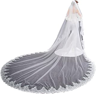 EllieHouse Women's 2 Tier Cathedral Lace Wedding Bridal Veil With Comb L01