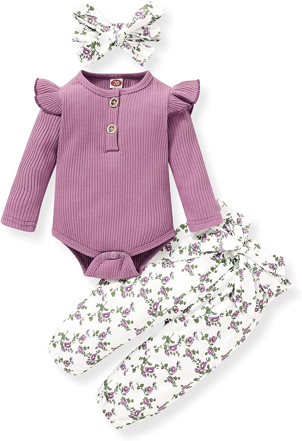 Newborn Baby Girls Great interest Outfits Infant Floral Ruffle wit Pants Romper Recommended