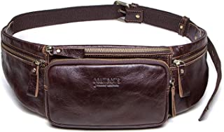 d36b6043fef0 Cow Leather Men Waist Bag New Casual Small Fanny Pack Male Waist Pack For  Cell Phone