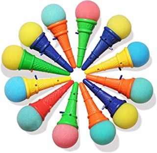 """Novelty Place 7"""" Ice Cream Shooters Toy, Pack of 12, 7 Inch Size Plastic Cone and Foam Ball with Multiple Colors, Interest..."""