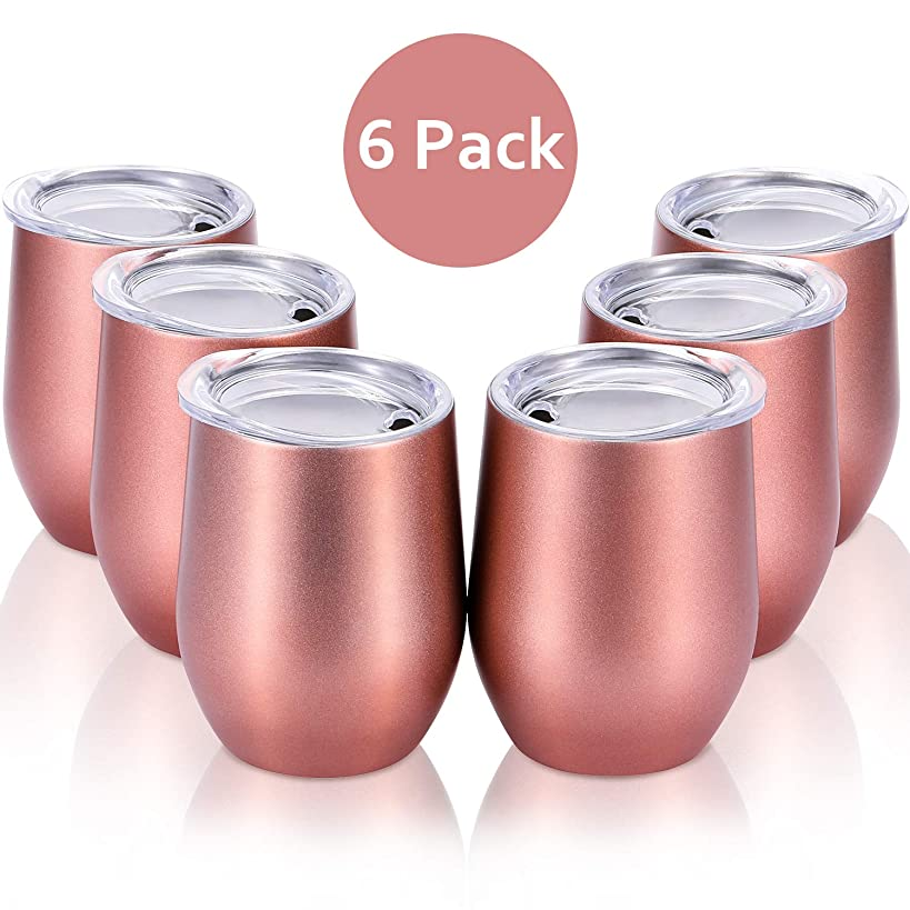 Skylety 6 Pack 12 Oz Unbreakable Drink-Ware Stemless Wine Tumbler, Stainless Steel Triple-Insulated Vacuum Wine Glass Cup with Lids for Wine, Coffee, Champagne, Cocktails and Beer (Rose Gold)