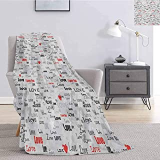 jecycleus Valentines Commercial Grade Printed Blanket Different Stylized I Love You Quotes on Grey Backdrop with Hearts Queen King W55 by L55 Inch Pale Grey Scarlet Black