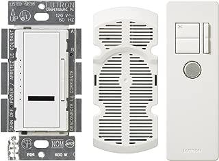Lutron Maestro IR Fan Control, Single-Pole or Multi-Location, 4-Amp, with IR Remote Control, MIR-FQ4FMT-WH, White