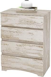 WLIVE 4 Drawer Dresser, Chest of Drawers, Wood Storage Organizer Unit for Bedroom, White Oak