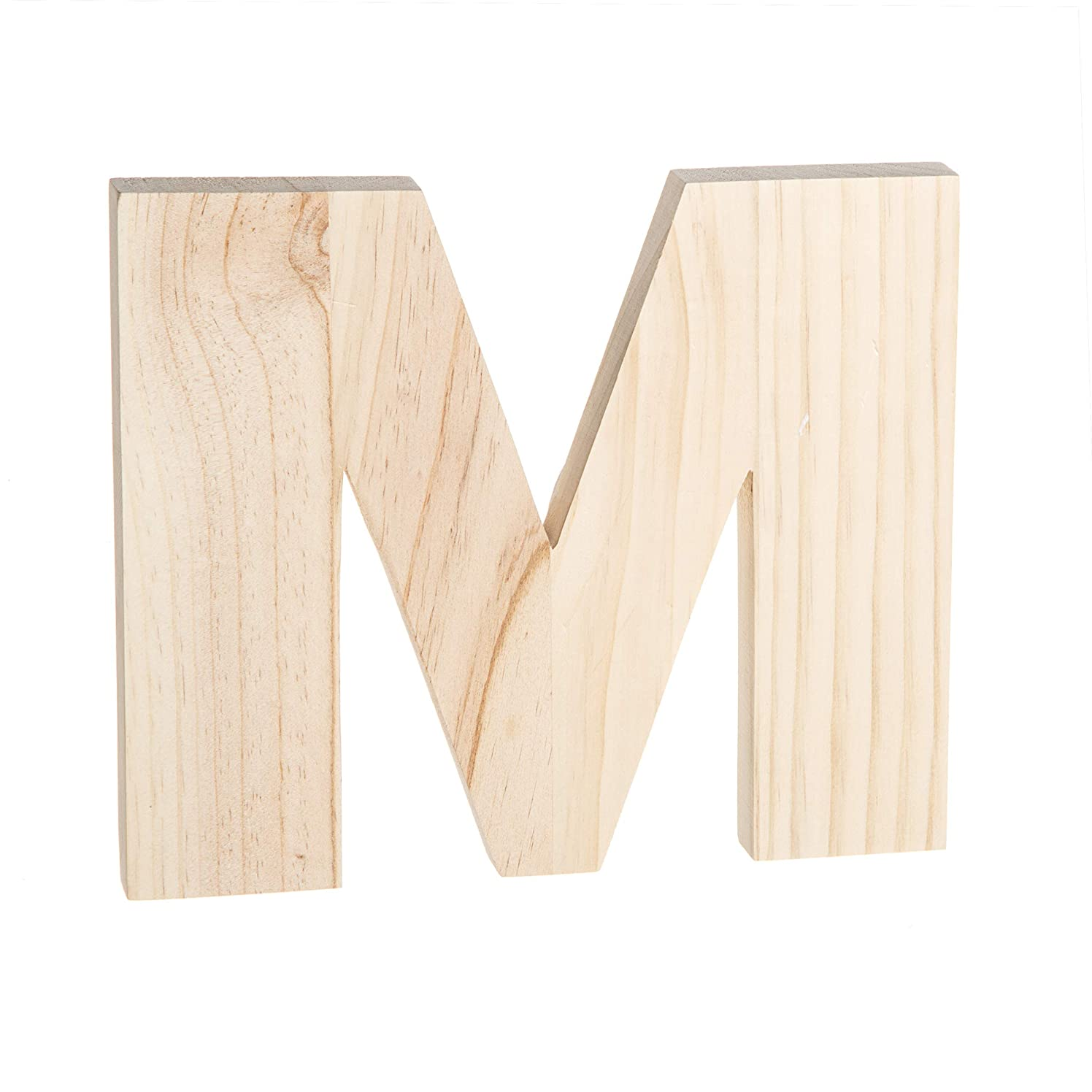 Darice 30066914 Unfinished Wood Letter: M, 8 x 8 inches, Natural