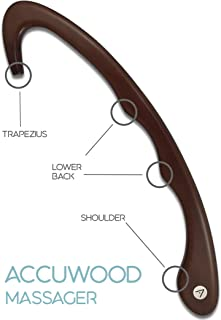 Accuwood Trigger Point Massager and Back Self Massage Tool with Usage Pamphlet – Mahogany Tint