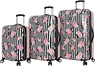 BETSEY JOHNSON Stripe Roses 3 Piece Expandable Hardside Spinner Luggage Set