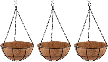 Sriramakrishna Garden King 10 INCH Coir Hanging Basket with Chain - Designer Coir Hanging Flower Plant Container for Indoor a