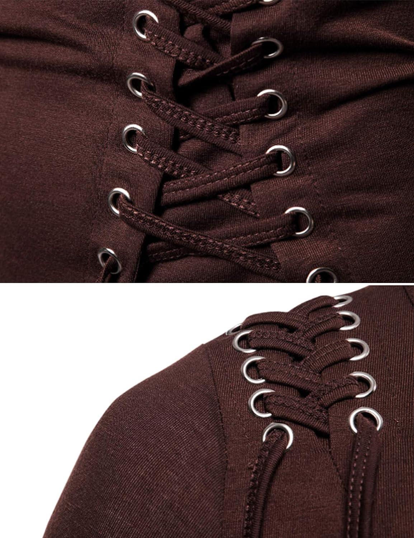 newrong Sweat-Shirt à Manches Longues pour Homme avec Cordon de Serrage Gris Foncé