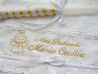 Kit Batismo Anjinha Menina - Toalha + Vela Personalizado