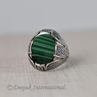 Natural Malachite Gemstone Ring, Designer Ring, Beaded Ring, Man's Ring, Solid 925 Sterling Silver Jewelry, Oxidized Arabic Ring, Heavy Ring, Statement Ring, Handmade Ring, Man's Engagement Jewelry