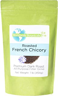 Worldwide Botanicals, French Chicory Root, Dark Roast, All-Purpose Filter Grind, Caffeine free, Acid Free, Kosher, Non-GMO, 1 lb (16 ounces)