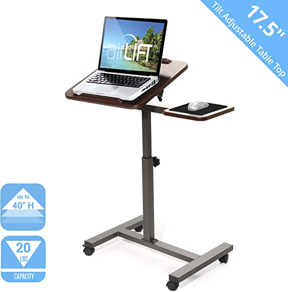 Seville Classics Tilting Sit Stand Computer Desk Cart With Mouse Pad Table Height Adjustable From 27 5 To 40 H Walnut