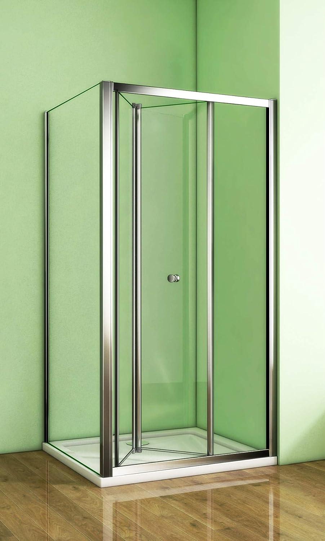 Duschkabine 90x76cm Duschabtrennung Eckeinstieg Duschtür Falttür faltbar 6mm Sicherheitsglas Mit Seitenwand