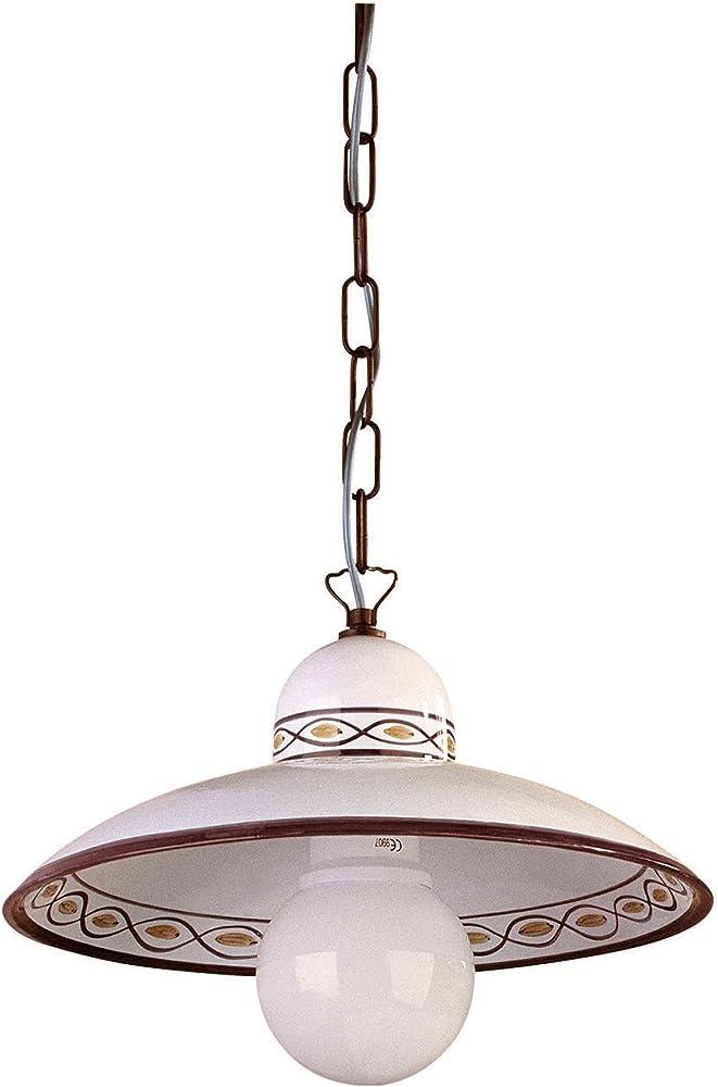 La luce del futuro,lampadario   in ceramica plissè decorata a mano 92/S40.OC.MA