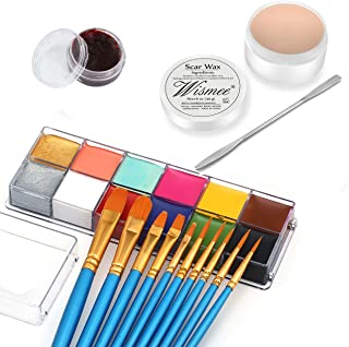 Wismee Pro Stage Special Effects Halloween Face Body Paint Kit, 12Colors Oil Based Makeup Palette (5.64Oz) + Wound Scar Wa...