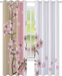 Tryckta mörkläggningsgardiner, romantiska Sakura blommar blommor blomblad vår vind naturtema, B 52 x L95 genomföringar mör...