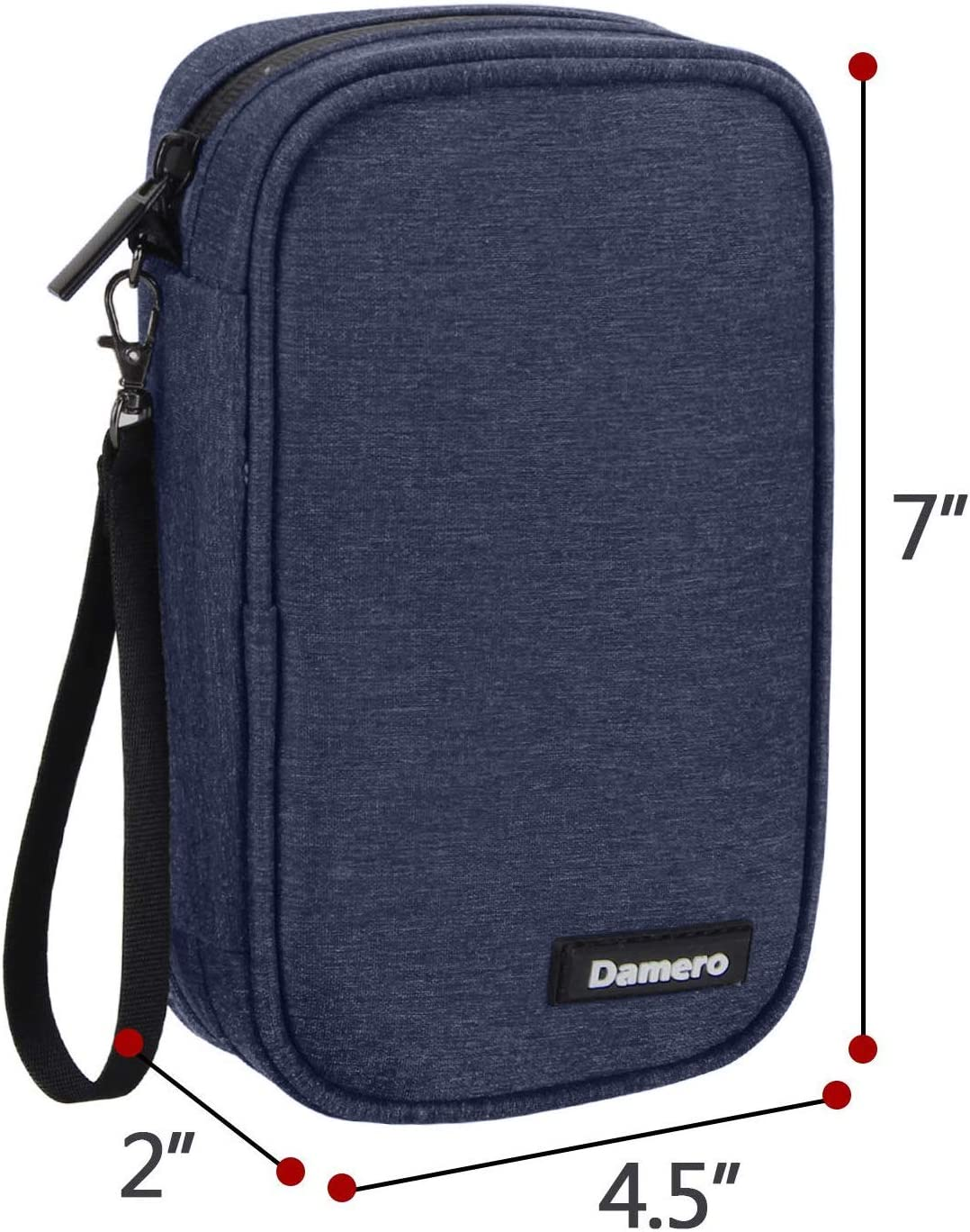 Damero USB Flash Drive Case Bag Wallet, SD Memory Cards Cable Organizer-Travel Gadget Case for Electronics Accessories (Small, Dark Blue)