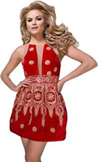 Tony Bowls Short Homecoming Cocktail red and Gold Velvet Cocktail Dress