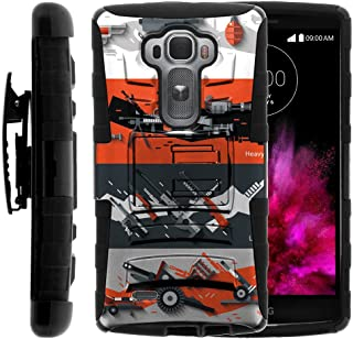 TurtleArmor | Compatible with LG G Flex 2 Case [Hyper Shock] Rugged Hybrid Hard Shell Kickstand Fitted Silicone Carry Holster Belt Clip War and Military - Heavy Artillery