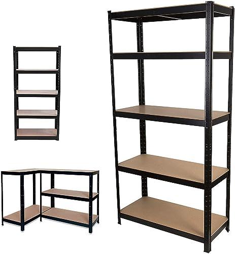 "new arrival 71"" lowest Storage Shelves Garage Shelving Unit Steel Storage sale Rack, Heavy Duty Metal Frame 5-Tier Garage Shelf MDF Boards, 386lbs Capacity per Tier, for Home/Office/Warehouse/Garage, Black outlet sale"