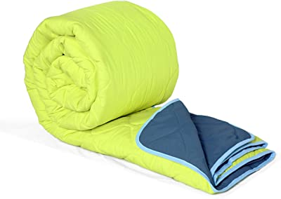 Divine Casa Microfibre Solid Comforter/Blanket/Quilt/Duvet Lightweight, All Weather Double Comforter, Lime Green and Blue