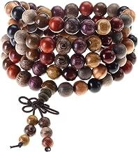 Top Plaza Unisex 108 Natural Wood 6mm 8mm Beads Bracelet Buddhist Rosary Mala Necklace(8mm Sandalwood Duobao)