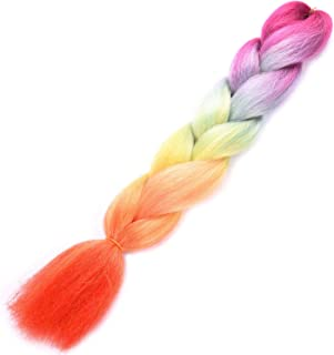 Silike Silky Jumbo Braid Hair For Beauty (1 Piece) 24 Inch Jumbo Braiding Hair Extensions For Women (Rainbow 2)