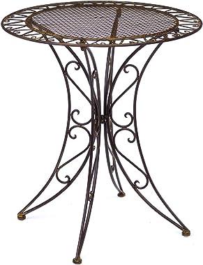 aubaho Table de Jardin - Fer forgé - Style Antique - Marron