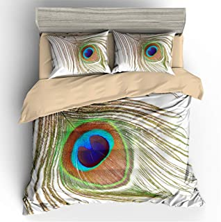 Erosebridal Peacock Decor Duvet Cover Set Kids Queen Cute Animal Theme Bedding Set Print for Adult Teen Boys and Girls Decorative Bedding Animal Soft Comforter/Quilt Cover Peacock Feathers Bed Cover D
