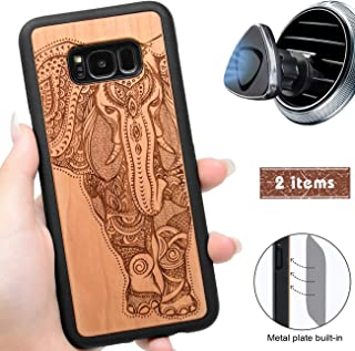 iProductsUS Wood Phone Case Compatible with Samsung Galaxy S8 and Magnetic Mount, Engrave Unique Elephant, Built-in Metal Plate, TPU Rubber Shockproof Cover (S8, 5.8 inch)