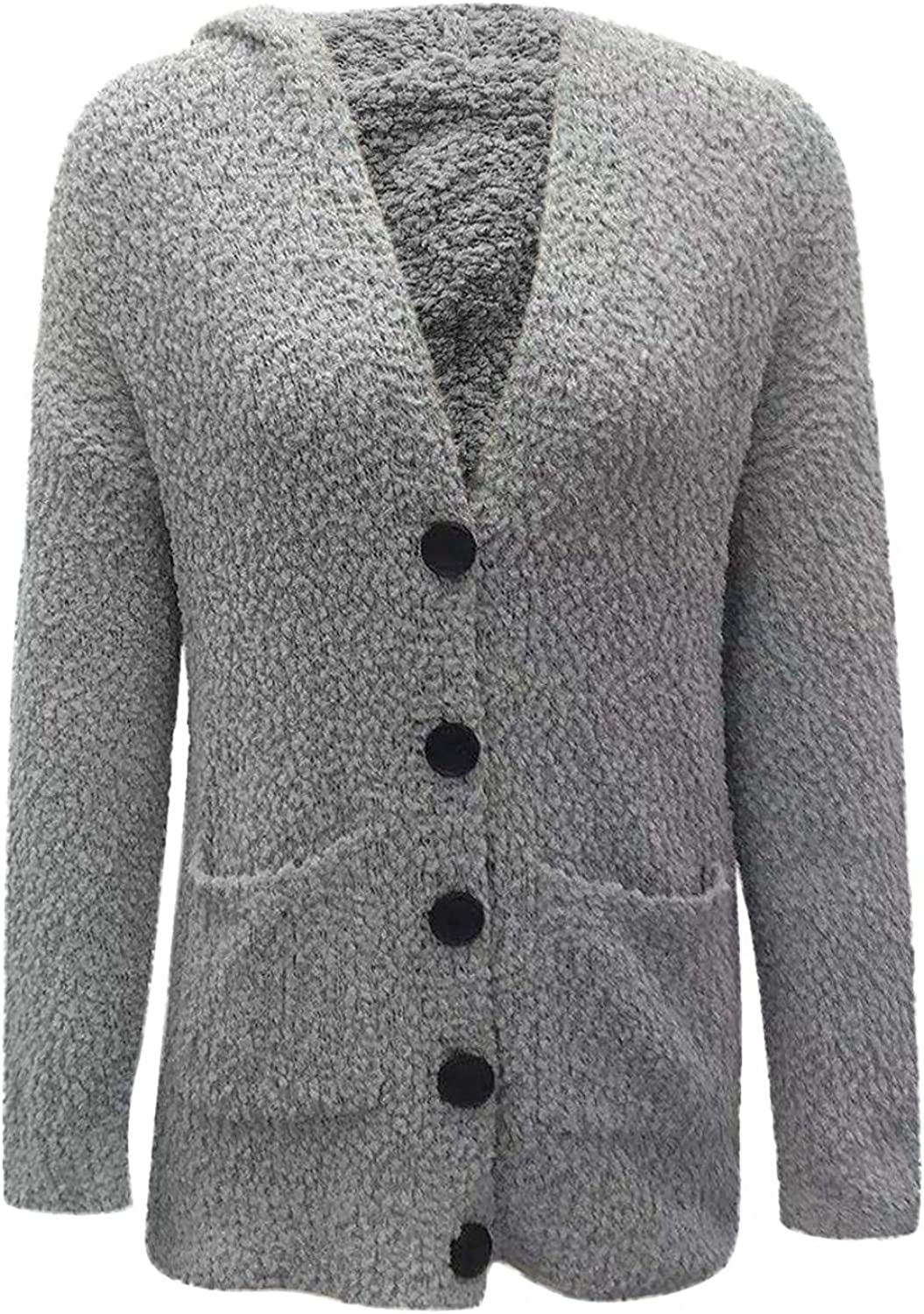 Lee-po-po Womens Hooded Cardigans Button Up Cable Knit Sweater Coat Outerwear with Pockets