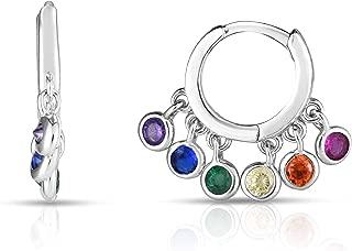 925 Solid Sterling Silver Multicolor Simulated-Gem Dangling Designer Pierced Hoop Earrings.